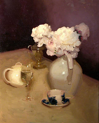 Interior Still Life Painting - White Peonies With Teacup by Dennis Perrin