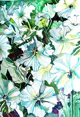 White Petunias Print by Mindy Newman