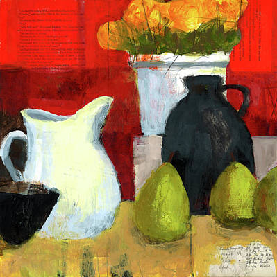 Pear Mixed Media - White Pitcher by Laurie Breen