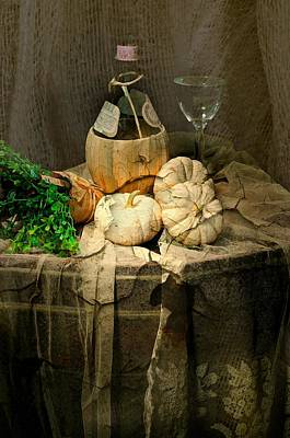Table Wine Photograph - White Pumpkins by Diana Angstadt