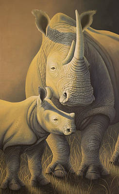 White Rhino Painting - White Rhino Fading Into Extinction by Tish Wynne