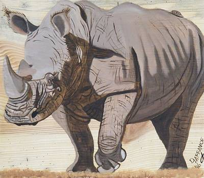 White Rhino Painting - White Rhino On Rustic Wood by Debbie LaFrance