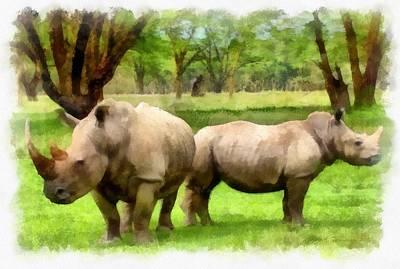 White Rhino Painting - White Rhinos by Maciej Froncisz