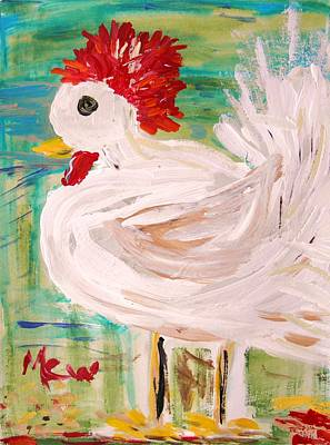 Primitive Drawing - White Rooster by Mary Carol Williams