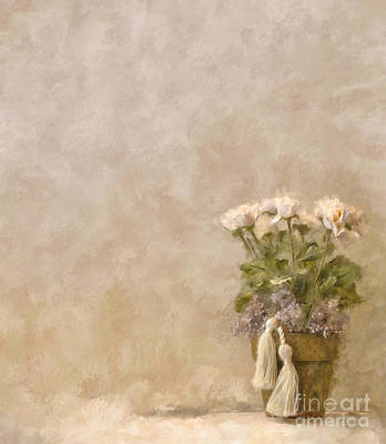 Flower Pot Digital Art - White Roses In Old Clay Pot by Lois Bryan