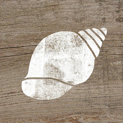 Natural Art Mixed Media - White Seashell- Art By Linda Woods by Linda Woods