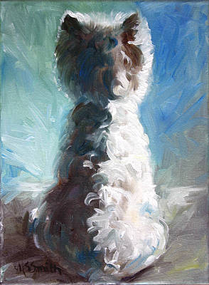 Westie Painting - White Shadows by Mary Sparrow