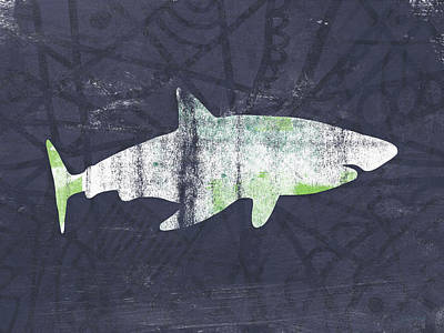 Wood Fish Painting - White Shark- Art By Linda Woods by Linda Woods