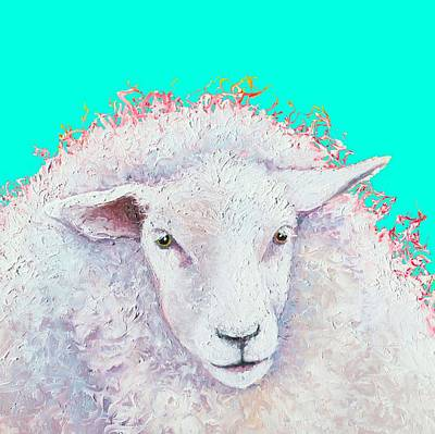White Sheep On Turquoise Background Print by Jan Matson