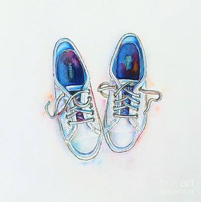 Shoe Painting - White Sneakers by Willow Heath