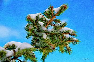 Weather Painting - White Snow On Evergreen by Jeff Kolker