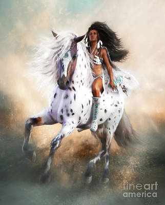 Native American Woman Digital Art - White Storm by Shanina Conway