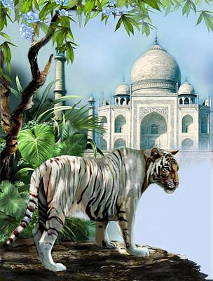 Historical Buildings Painting - White Tiger And The Taj Mahal Image Of Beauty by Gina Femrite