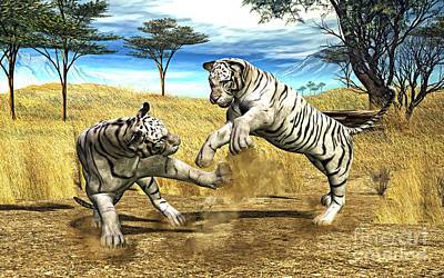 Tiger Digital Art - White Tiger Fight by Methune Hively
