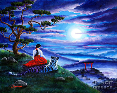Shrine Painting - White Tiger Meditation by Laura Iverson