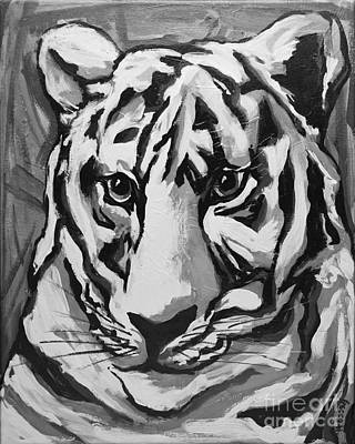 White Tiger Not Monochrome Print by Becca Lynn Weeks