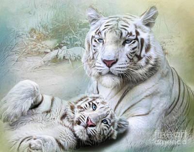 Cheetah Mixed Media -  White Tiger by Trudi Simmonds