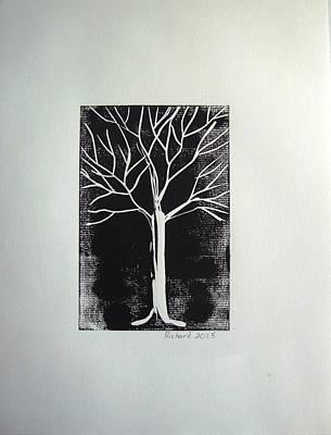 White Tree On Black Print by Stephane Richard