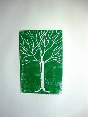 White Tree On Green Print by Stephane Richard