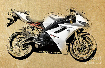 Motorcycle Drawing - White Triumph by Pablo Franchi