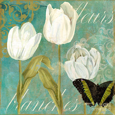 White Tulips Print by Mindy Sommers