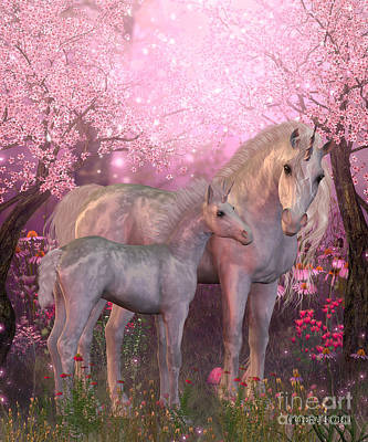 White Unicorn Mare And Foal Print by Corey Ford