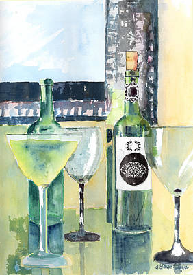 Glass Of Wine Painting - White Wine by Arline Wagner