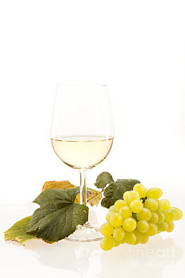 Wine Photograph - White Wine In Glass With Grapes by Wolfgang Steiner