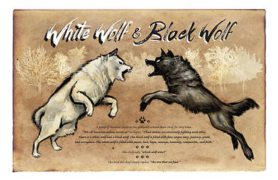 Psychiatry Painting - White Wolf Black Wolf by Christopher Panza