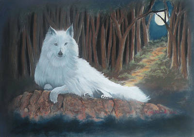 White Wolf Print by Charles Hubbard