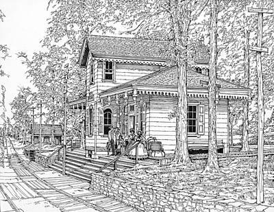 Philadelphia History Drawing - Whitehall Station Bryn Mawr Pennsylvania by Ira Shander