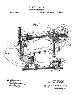 Sepia Chalk Drawing - Whitehill Sewing Machine Patent 1885  by Bill Cannon