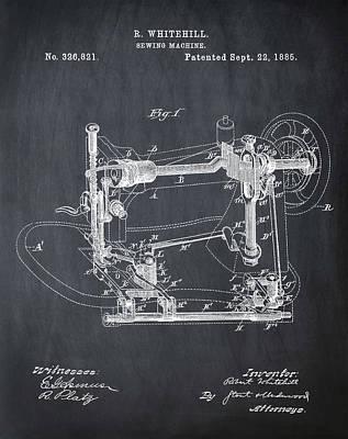 Sepia Chalk Drawing - Whitehill Sewing Machine Patent 1885 Chalk by Bill Cannon