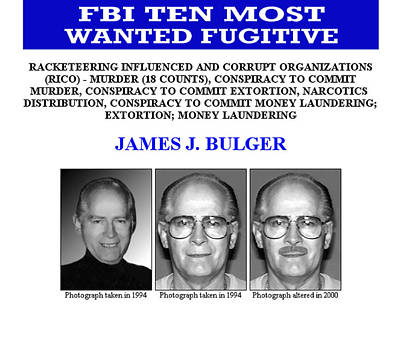 Whitey Bulger F B I Ten Most Wanted Print by Daniel Hagerman