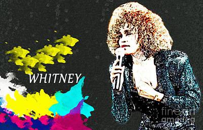 Whitney Houston Print by Manjot Singh Sachdeva