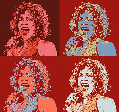 Beverly Hills Mixed Media - Whitney Houston Pop Art Panels by Dan Sproul