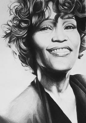 Singer Drawing - Whitney Houston by Steve Hunter