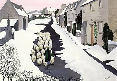 Road Painting - Whittington In Winter by Maggie Rowe
