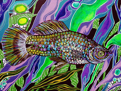 Fish Painting - Who Do Water 03 by Debbie Chamberlin