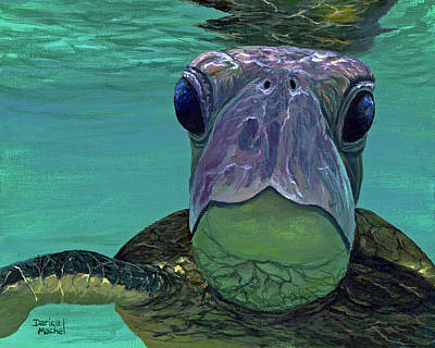 Honu Painting - Who Me? by Darice Machel McGuire