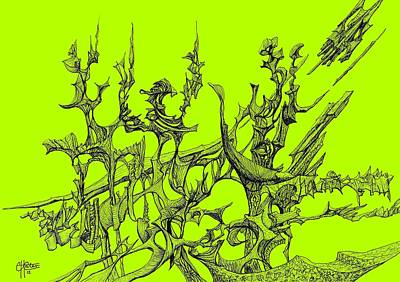 Joyful Drawing - Whooshh -  Lime Background by Charles Cater