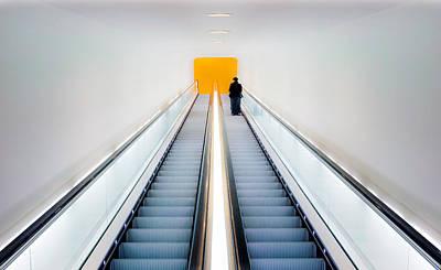 Who's Afraid Of Black, Yellow And Grey Print by Michiel Hageman
