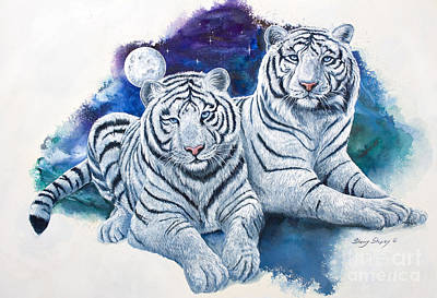 Cat Painting - Whte Tigers by Sherry Shipley