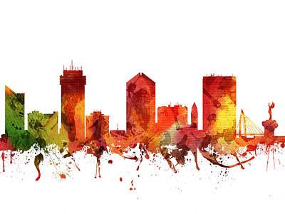 Kansas City Drawing - Wichita Cityscape 04 by Aged Pixel