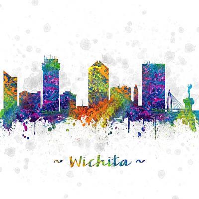 Kansas City Drawing - Wichita Kansas Skyline Color 03sq by Aged Pixel