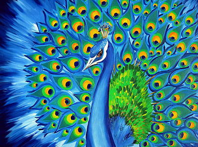 Wild And Free-peacock Print by Cathy Jacobs