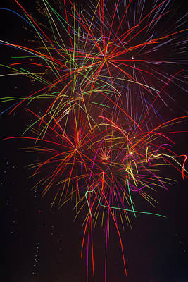 Wild Colorful Fireworks Print by Garry Gay