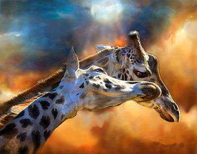 Giraffe Mixed Media - Wild Dreamers by Carol Cavalaris