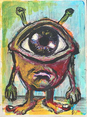Cyclops Drawing - Wild Eye by Justin Welch