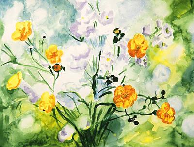 Close Focus Nature Scene Painting - Wild Flowers by Masha Batkova